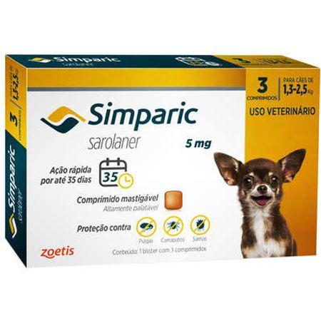 Antipulgas Zoetis Simparic 5 Mg para Cães de 1,3 à 2,5 Kg