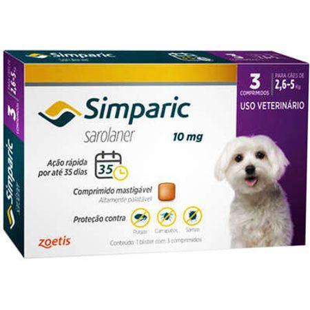 Antipulgas Zoetis Simparic 10 Mg para Cães de 2,6 à 5 Kg