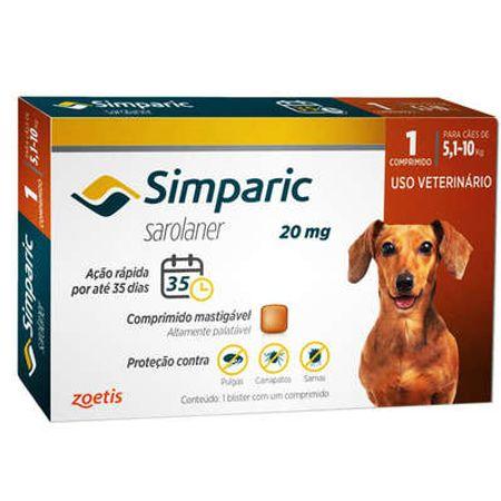 Antipulgas Zoetis Simparic 20 Mg para Cães de 5,1 à 10 Kg