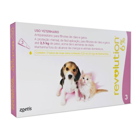 Antipulgas e Carrapatos Zoetis Revolution 6% para Cães e Gatos até 2,5 Kg