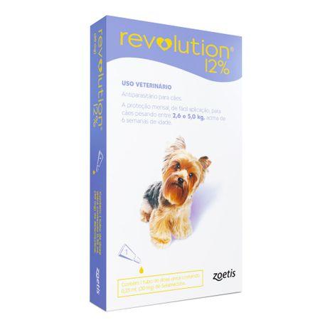 Antipulgas e Carrapatos Zoetis Revolution 12% para Cães de 2,6 a 5 Kg