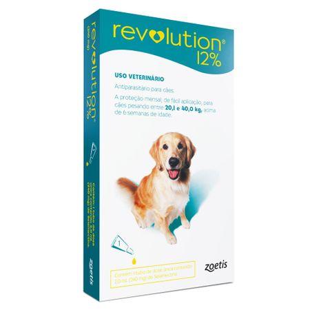 Antipulgas e Carrapatos Zoetis Revolution 12% para Cães de 20,1 a 40 Kg