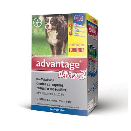 Antipulgas e Carrapatos Bayer Advantage MAX3 para Cães acima de 25 Kg Combo