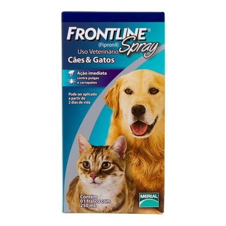 Antipulgas Frontline Spray para Cães e Gatos de 250 mL