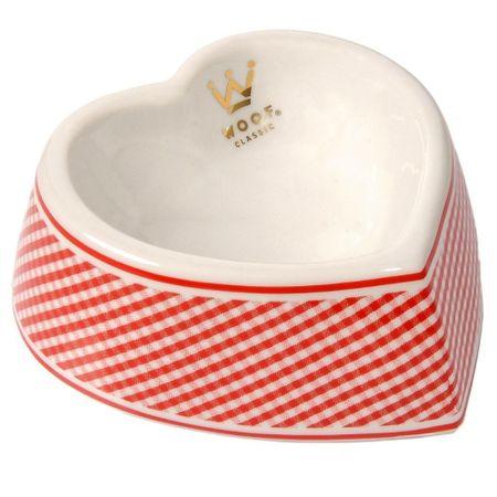 Comedouro para Cães em Porcelana Woof Pet Coração Xadrez Vermelho P