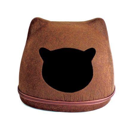 Toca de gato modelo carinha de gato PetLon - Marrom