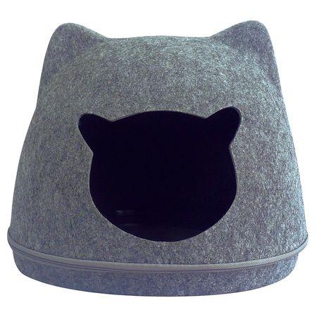 Toca de gato modelo carinha de gato PetLon - Cinza