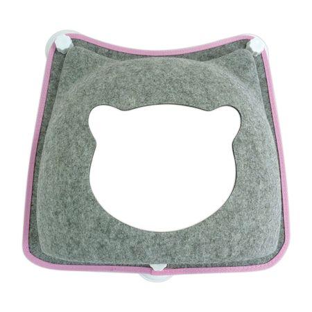 Cama de Janela com ventosa modelo carinha de gato PetLon - Cinza
