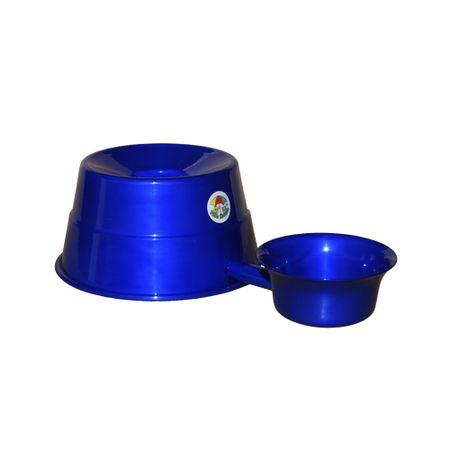 Bebedouro para Raças Grandes em Alumínio Vida Mansa Azul Cobalto