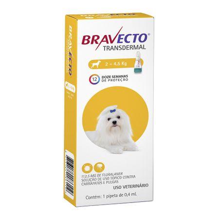 Antipulgas e Carrapatos MSD Bravecto Transdermal para Cães de 2 a 4,5Kg