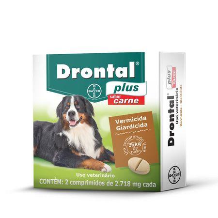 Vermífugo Drontal Plus para Cães de 35 kg Sabor Carne 2 Comprimidos