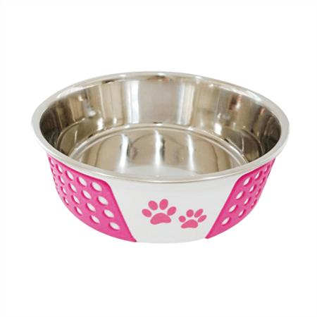 Comedouro de Inox Para Cães e Gatos Bolinhas The Pets Brasil Rosa