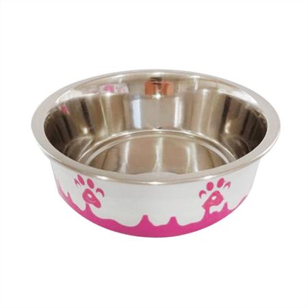 Comedouro de Inox Para Cães e Gatos Patinha The Pets Brasil - Rosa